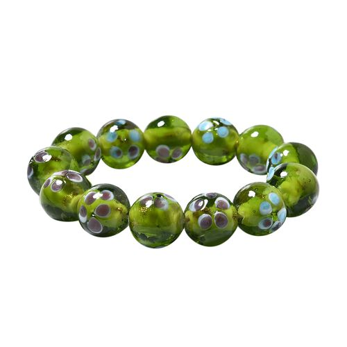 Millefiori Collection Green Colour Murano Style Glass Stretchable Beaded Bracelet 7 Inch