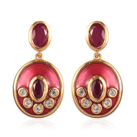 AA African Ruby and Natural Cambodian Zircon Enamelled Drop Earrings (with Push Back) in 14K Gold Ov