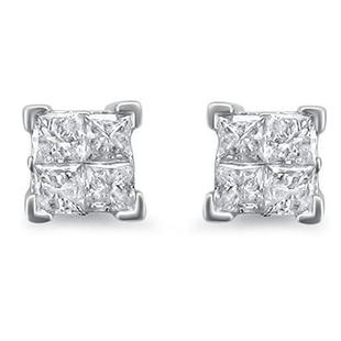 NY Close Out 14K White Gold Princess Cut Diamond (I1-I2/G-H) Earrings (with Screw Back) 1.00 Ct.
