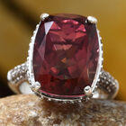 Finch Quartz (Cush 11.00 Ct), Brown Zircon Ring (Size O) in Platinum Overlay Sterling Silver 13.000 Ct, Number of Gemstone 169