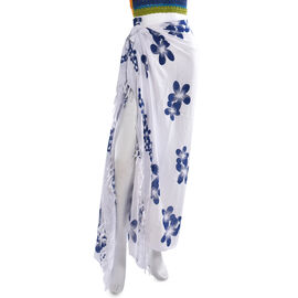 White Colour Floral Pattern Hand Painted Sarong