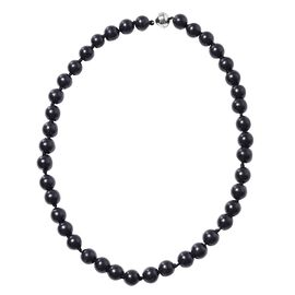 370 Ct Shungite Beaded Necklace with Magnetic Lock in Silver 20 Inch