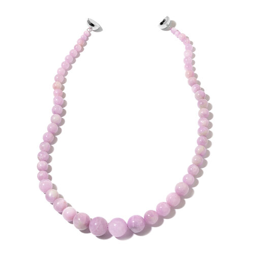 Rare Size Kunzite Beads Necklace (Size 20) with Magnetic Clasp in Rhodium Plated Sterling Silver 456