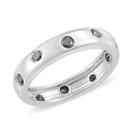 Black Diamond (Rnd) Band  Ring in Platinum Overlay Sterling Silver  0.500 Ct.