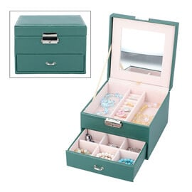 Two Layer Jewellery Box with Extendable Mirror in Dark Green
