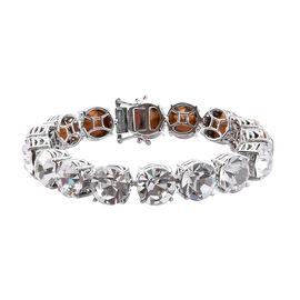 J Francis - Crystal from Swarovski White Crystal (Rnd 11.5 mm) Tennis Bracelet (Size 7.5) in Silver Plated