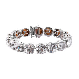 J Francis White Colour Crystal from Swarovski Tennis Style Bracelet in Silver Tone Size 7.5 Inch
