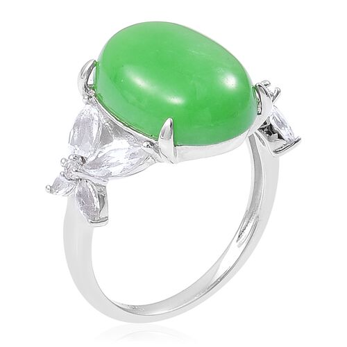 Green Jade (Ovl 11.25 Ct), White Topaz Ring in Rhodium Plated Sterling Silver 12.750 Ct.