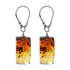 Bi Colour Baltic Amber Fancy Lever Back Earrings in Sterling Silver