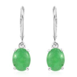 Green Jade (Ovl) Earrings (with Lever Back) in Sterling Silver 4.500 Ct.