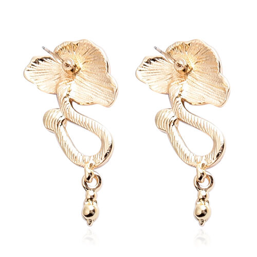 White Austrian Crystal Enamelled Poppy Earrings (with Push Back) in Gold Tone