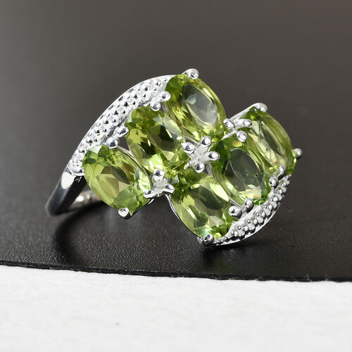 Hebei Peridot Bypass Ring in Sterling Silver 3.00 Ct.
