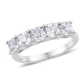 J Francis - Platinum Overlay Sterling Silver (Asscher Cut 4x4 mm) Ring Made with SWAROVSKI ZIRCONIA