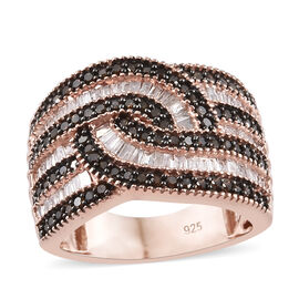 Diamond (Taper Bagguet), Red Diamond Cluster Ring (Size M) in Rose Gold and Black Overlay Sterling Silver 1.0