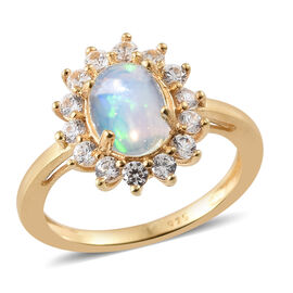 DOD - Ethiopian Welo Opal (Ovl), Natural Cambodian Zircon Ring in 14K Gold Overlay Sterling Silver 1.500 Ct.