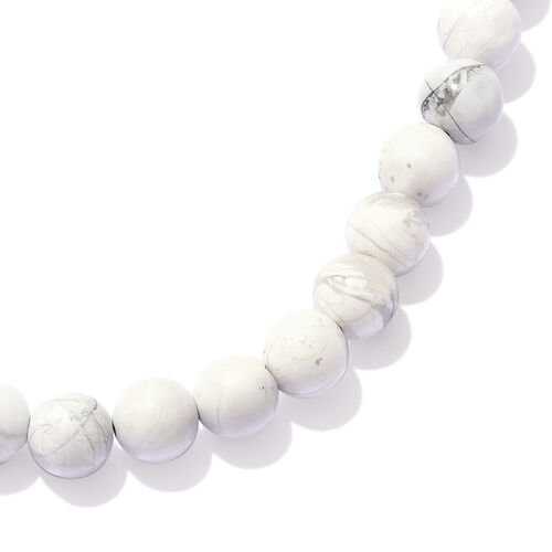 One Time Deal- White Howlite Round Beads Necklace (Size 20) with Lobster Lock in Platinum Overlay Sterling Silver 200.000 Ct