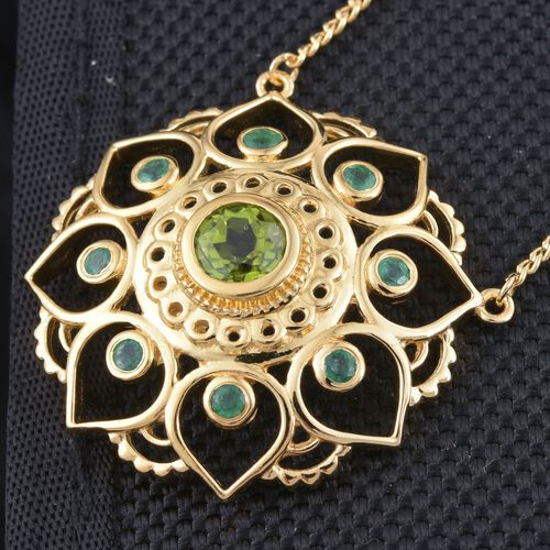 Kimberley Lotus Spice Collection - Hebei Peridot, Kagem Zambian Emerald Floral Necklace (Size 18) in 14K Gold Overlay Sterling Silver 2.000 Ct.