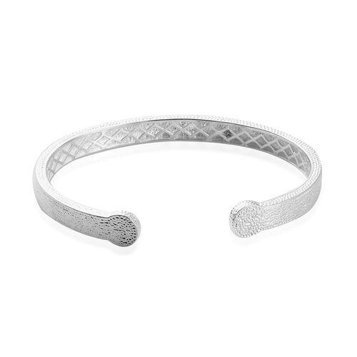 Magnetic Cuff Bangle in Silver Tone 7.5 Inch
