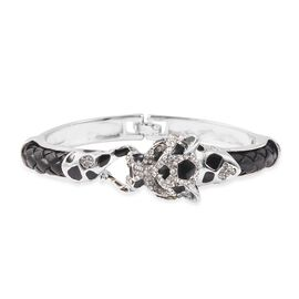 Black and White Austrian Crystal (Rnd) Enamelled Panther Bangle (Size 6.5) in Silver Tone