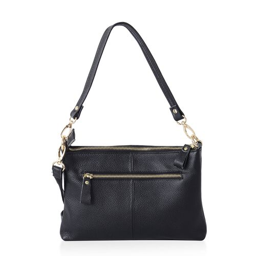 Super Soft 100% Genuine Leather Classic Black Cross Body Bag with Adjustable and Removable Shoulder Strap (Size 25x17x4 Cm)