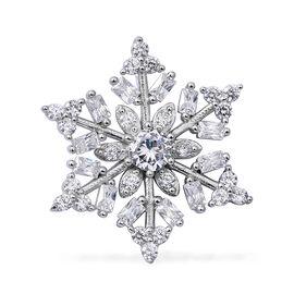 ELANZA Simulated Diamond (Rnd) Snowflake Pendant in Rhodium Overlay Sterling Silver