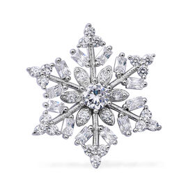 ELANZA Simulated Diamond (Rnd) Snowflake Pendant in Rhodium Overlay Sterling Silver