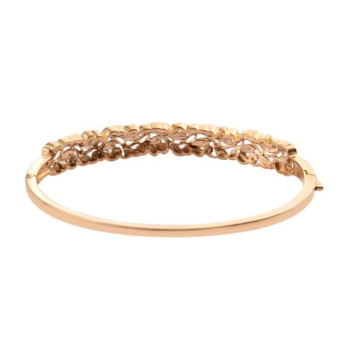 Diamond (Rnd) Bangle (Size 7.5) in 14K Gold Overlay Sterling Silver 0.250 Ct, Silver wt 16 Gms.