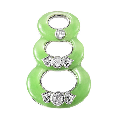Green Jade and Natural Cambodian Zircon Pendant in Rhodium Overlay Sterling Silver 11.56 Ct.
