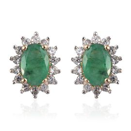 9K Yellow Gold AA Kagem Zambian Emerald and Natural Cambodian Zircon Stud Earrings (with Push Back)