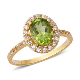 2.69 Ct Hebei Peridot and Zircon Halo Ring in Gold Plated Sterling Silver