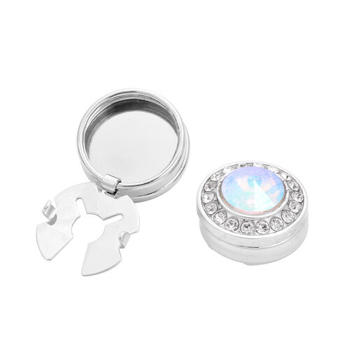 Simulated AB Crystal and White Austrian Crystal Cuff Button Cover in Silver Tone