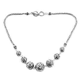 Royal Bali Bead Tulang Naga Necklace with T Bar Clasp in Sterling Silver 36.80 Grams 18 Inch