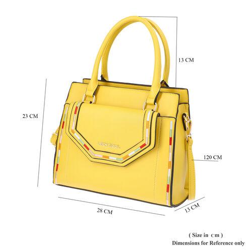 LOCK SOUL Yellow Handbag with Detachable Shoulder Strap and Flap Pocket at Front (28x13x23cm)