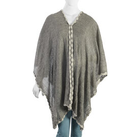 Grey Colour Crochet Work Poncho (Size 92x52 Cm)