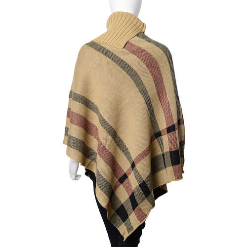 Designer Inspired- Camel & Black Colour Roll Neck Checker Pattern Poncho (Size 78x68 Cm)