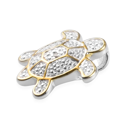 Diamond Turtle Pendant in Sterling Silver