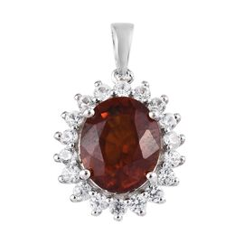 7 Ct Garnet and Zircon Halo Pendant in Platinum Plated Sterling Silver
