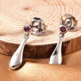 LucyQ Drip Collection - African Ruby Earrings (with Push Back) in Rhodium Overlay Sterling Silver