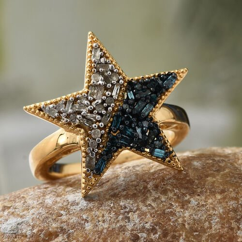 Blue and White Diamond (Rnd and Bgt) Star Ring in 14K Gold Overlay with Blue Plating Sterling Silver 0.330 Ct.