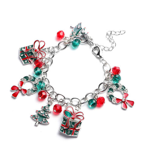 Simulated Emerald, Simulated Ruby and White Austrian Crystal Multi-Charm Christmas Theme Enamelled B