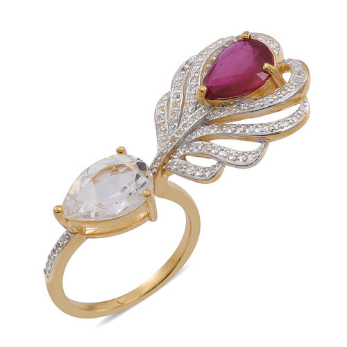 African Ruby (Pear 2.75 Ct), White Topaz Ring in 14K Gold Overlay Sterling Silver 7.000 Ct.