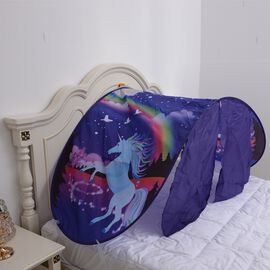 Purple and Multi Colour Beautiful and Stunning Unicorn Pattern Bedroom Tent (Size 230x70 Cm)