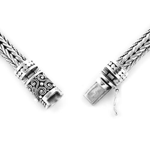 Royal Bali Collection Oxidised Sterling Silver Tulang Naga Bracelet (Size 7), Silver wt 41.50 Gms.