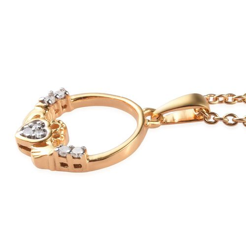 Diamond Claddagh Pendant with Chain (Size 18) in 14K Gold Overlay Sterling Silver 0.080 Ct.
