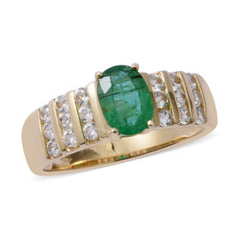 9K Yellow Gold AAA Kagem Zambian Emerald (Ovl 0.680 Ct), Natural Cambodian White Zircon Ring 1.400 Ct.