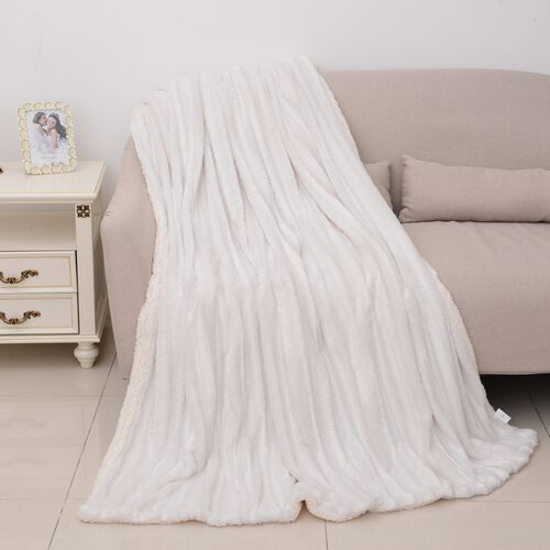 Deluxe Collection- White Colour Faux Fur Sherpa Stripe Pattern Blanket (Size 200x150 Cm)