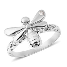 RACHEL GALLEY Natural Cambodian Zircon Bee Ring in Rhodium Overlay Sterling Silver