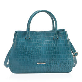 Premium Collection - 100% Genuine Leather Teal Blue Colour Croc Embossed Satchel Bag with Removable Shoulder Strap (Size 34.5x25x10.5 Cm)