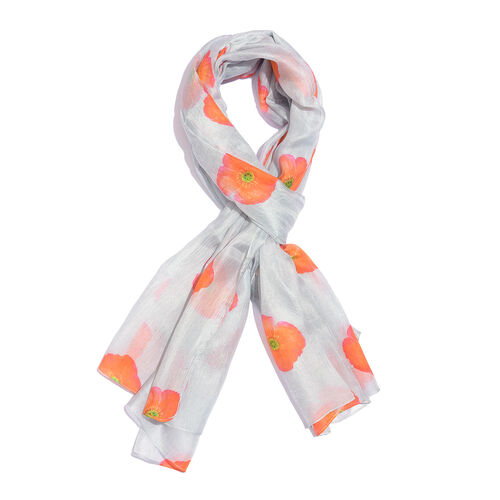 TJC Poppy Collection -100% Mulberry Silk Grey, Orange and Multi Colour Poppy Flower Pattern Scarf (S