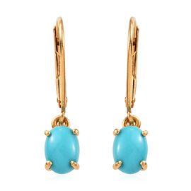 Arizona Sleeping Beauty Turquoise (Ovl) Earrings in 14K Gold Overlay Sterling Silver 1.50 Ct.